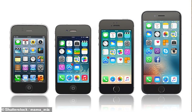 Pictured L-R: iPhone 3GS, iPhone 4, iPhone 5s and the iPhone 6.iOS 9 was the last software update the iPhone 4 could receive, with later models able to upgrade to newer versions. Apple released iOS 14 in September 2020