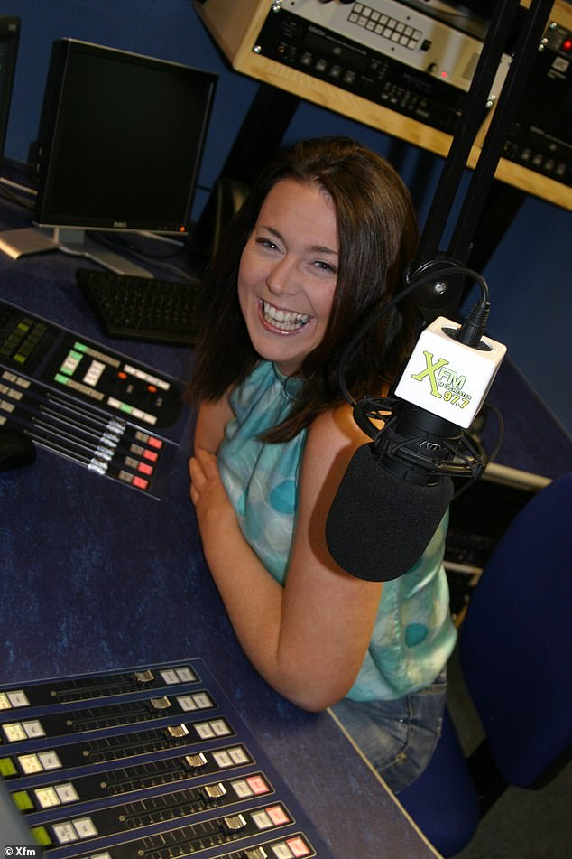 Always smiling: Michelle is pictured hosting her radio show on XFM