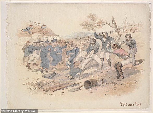 An illustration of European miners attacking Chinese miners in a historic sketch byJohn Thomas Doyle.European miners became jealous of Chinese success, which resulted in violent anti-Chinese protests, most notably the Lambing Flat riots in NSW from 1860 to 1861