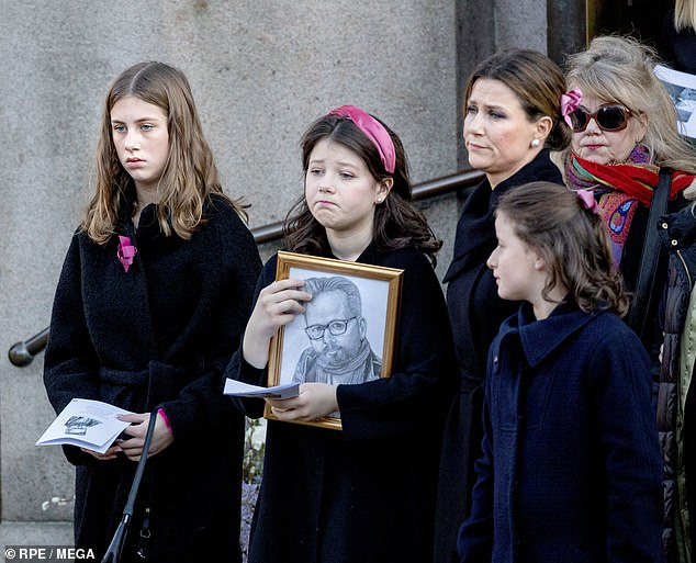 Leah, pictured with her sisters Maud, Emma and Princess Marhta Louise at Ari Behn's funeral, said the loss of her father still 'really hurts'