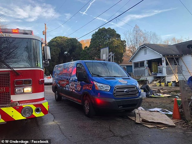 Following the fire, the W-Underdogs shelter - which is also its founder's home - was left uninhabitable. Damage done to the shelter and residence is pictured