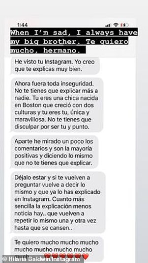 Hilaria - who boasts 852K Instagram followers - also shared a Spanish-language text from her brother