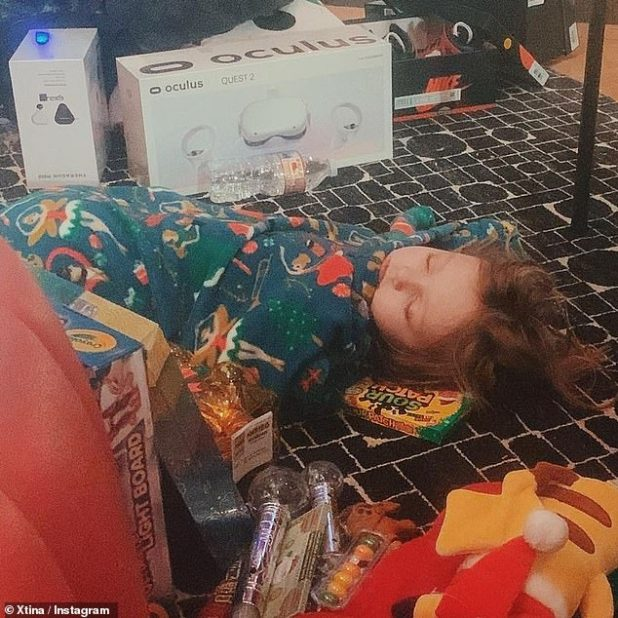 Pass Out: Christina also shared a cute photo of her daughter Summer Rain, who was six years old, gifted her daughter in her pajamas