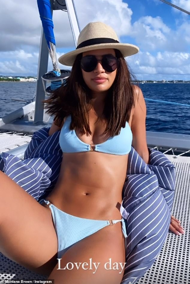 Ab fab!Montana opted for a skimpy triangle top and matching high-rise bottoms which highlighted her washboard abs