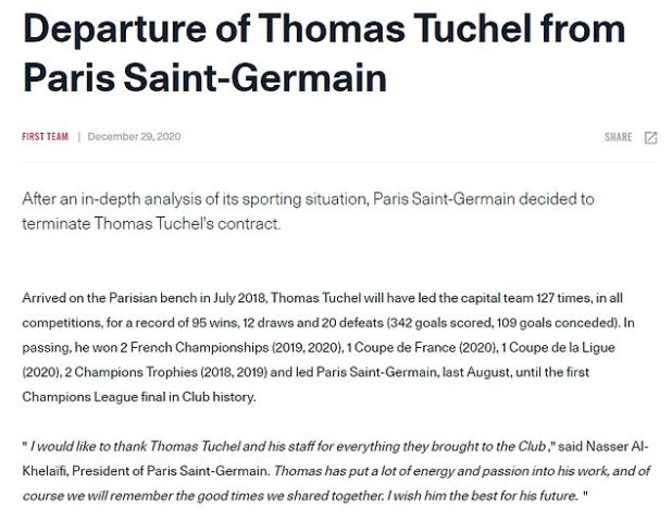 A statement issued on Tuesday by PSG said that Tuchel was removed following an 'in-analysis analysis'.