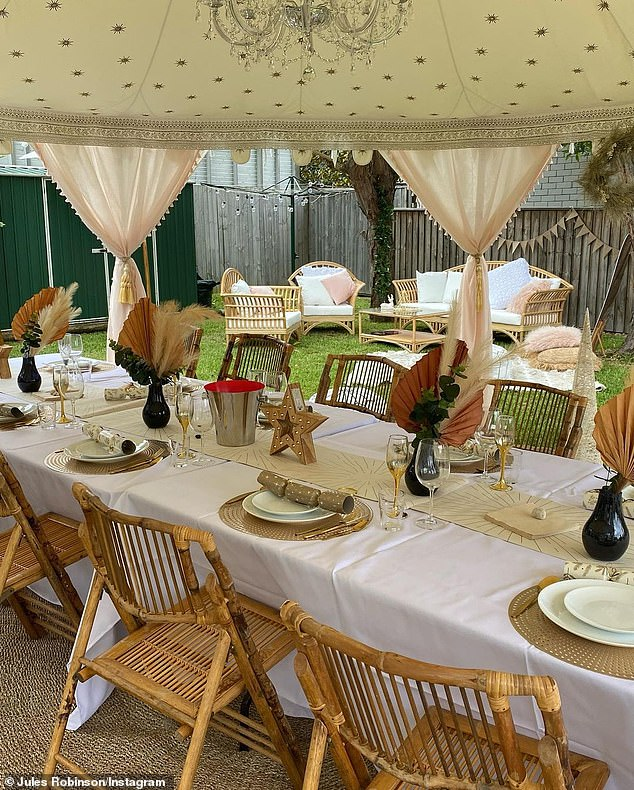 Fancy:An elaborate marquee was set up in the backyard for a socially distanced dinner