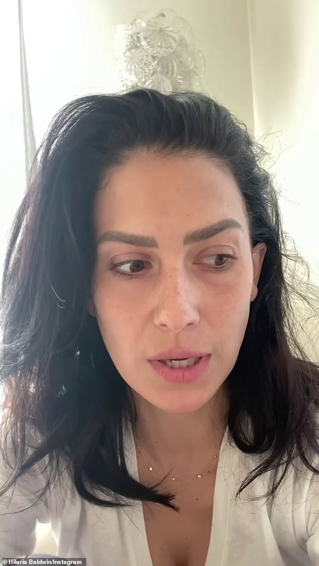 Under scrutiny: Ireland, 25, had branded those digging into Hilaria's past 'sad and pathetic', following an Instagram video in which her stepmother appeared to 'drop' her Spanish accent (Hilaria is pictured)