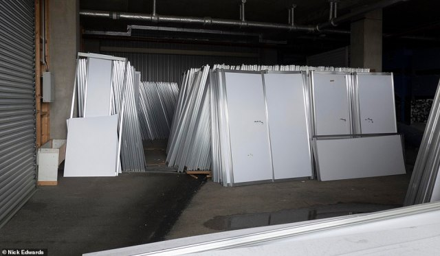 LONDON: Partitions are pictured stocked at the ExCeL centre in London today, after it emerged that the Nightingale hospital is being taken apart. Ministers splashed £220million on the hospitals at the start of the pandemic