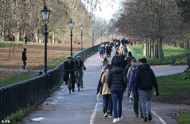 A man was charged after he fell from an e-scooter in Hyde Park (pictured) in central London. None of those pictured were involved in the incident