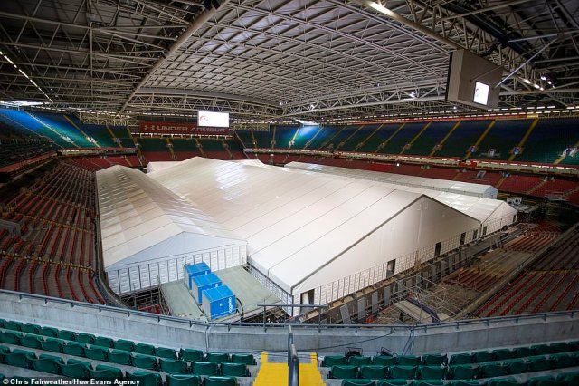 CARDIFF: In Wales as many as 17 field hospitals were set up at a cost of £166million, but nine have since being closed. Above is the Dragon's Heart Hospital at the Principality Stadium in Cardiff, ready to accept patients in April