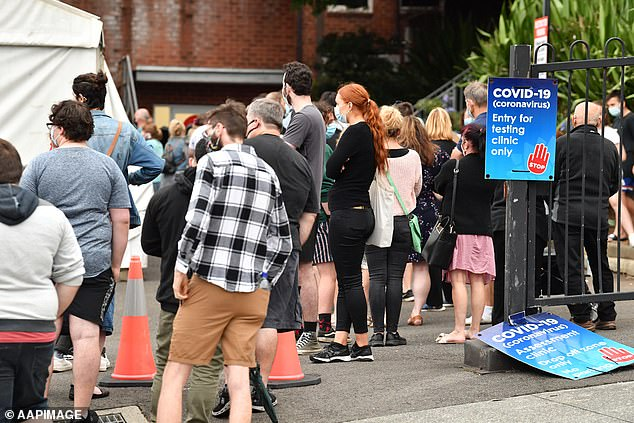 Huge lines stretched around an entire block at the Wollongong Hospital with many waiting up to five hours just to get a test