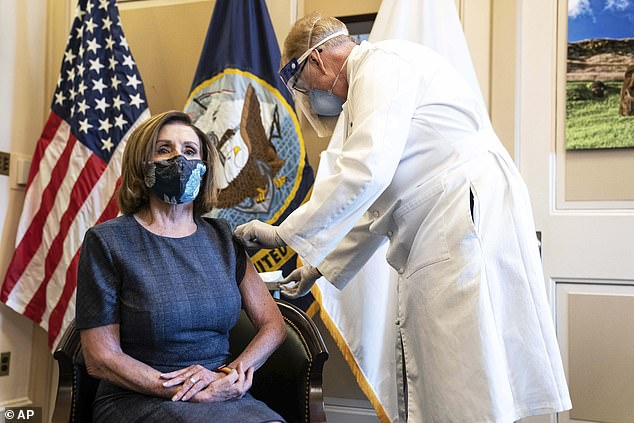 Congressional staffers received word Monday that they are now eligible to receive the COVID-19 vaccine, with the first wave of 1,000 doses focusing on 'critical employees'. Members of Congress, including Nancy Pelosi pictured above, have already been offered a vaccine