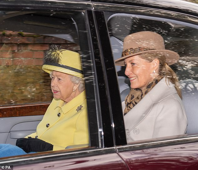 The Queen was pictured in January with the Countess of Wessex leaving a church service at St Mary Magdalene Church in Sandringham, Norfolk, where the alleged attack happened