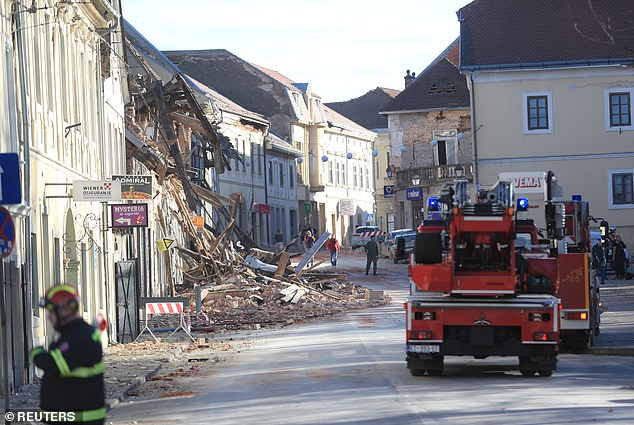 Firefighters arrive after an earthquake in Petrinja, Croatia.European Commission President Ursula von der Leyen said on Twitter that she spoke with Plenkovic and instructed an envoy to travel to Croatia as soon as possible