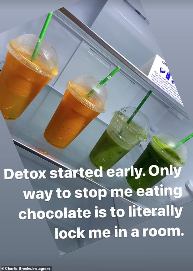 Detox: The former EastEnders star also joked that she is using the opportunity to detox as the only way to 'stop her eating chocolate' is to 'lock her in a room'