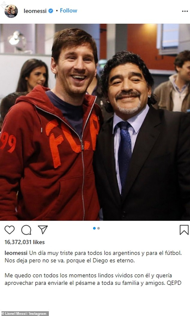 Diego stands out: The third most liked image was from Argentine professional soccer player Leo Messi on November 25, 2020.Messi was with the late Maradona. The post landed a stunning 16,272,616 likes. 'A very sad day for all Argentines and for football. He leaves us but does not leave, because Diego is eternal,' he said.