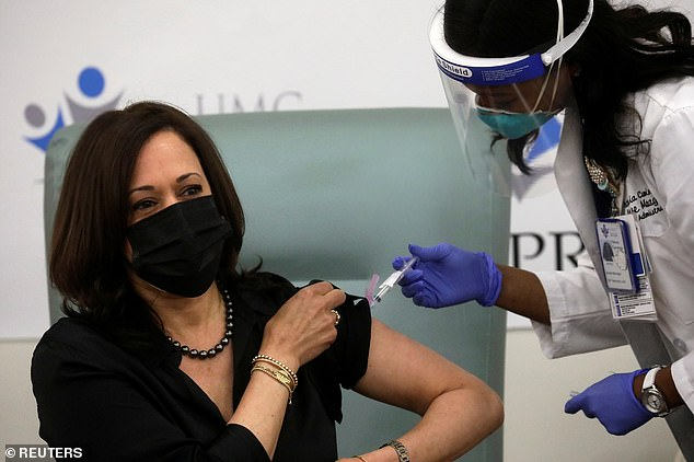 Vice President-elect Kamala Harris received her first dose of the Moderna COVID-19 vaccine at United Medical Center in Southeast Washington, D.C. on Tuesday