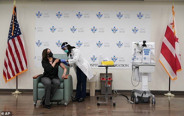 Vice President-elect Kamala Harris (left) gets the vaccine from nurse Patricia Cummings at a medical center across the Anacostia River in D.C., the home of many minority communities
