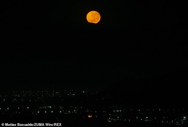 The moon will be in the sky for more than 15 hours from Tuesday evening to Wednesday morning, making it the longest full moon of the year.  Moon setting behind a hill in Chile on the morning of 29 December