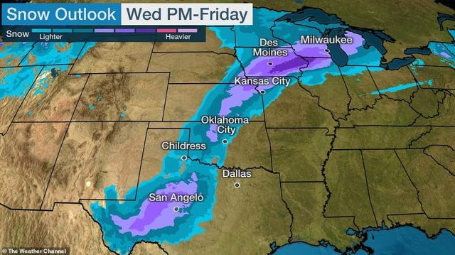 Winter weather alerts have since been issued for at least 40 million Americans - from Utah to Michigan - with heavy snowfall exepected