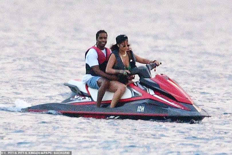 Vroom vroom: The fun on the Carribean did not stop there as they also went out for a jet ski joyride