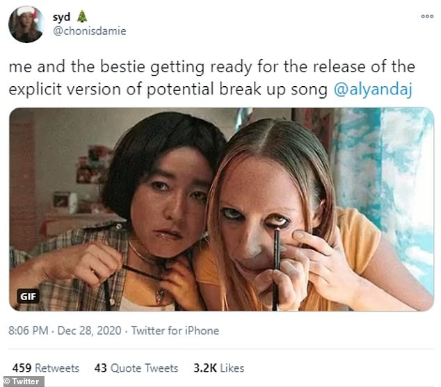 Too good:Another meme created by @chonisdamie showed the main characters from Hulu's PEN15 and wrote: 'me and the bestie getting ready for the release of the explicit version of potential break up song @alyandaj'