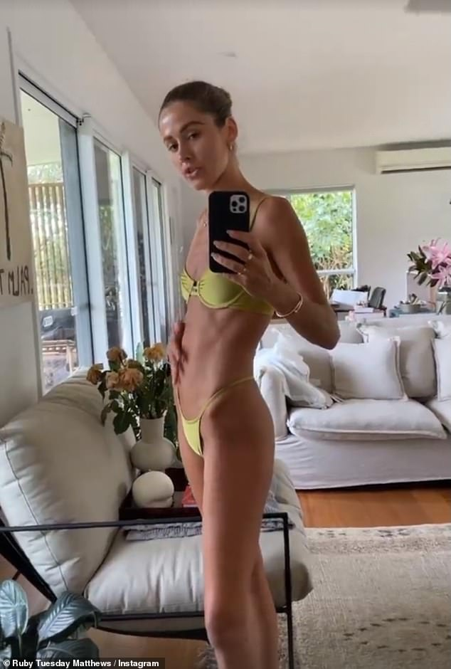 'In pain':Posting to her Instagram Stories, the 27-year-old showed her 'bloated' tummy and explained she was in 'so much pain'