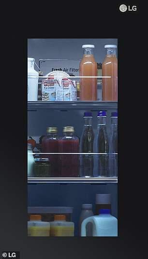 LG have yet to reveal when the new InstaView fridge models will be availably commercially — nor how much buying the appliances will set consumers back. Pictured, the refrigerator's water dispenser with UVnano sanitisation tech and the InstaView window (pictured)