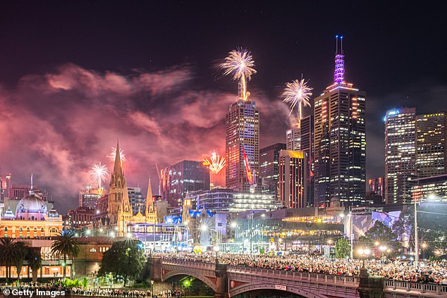 Acting Prime Minister Jactina Allan apologized to those who had planned a New Years party, but said these measures were necessary to stem the spread of the highly contagious virus (pictured, Melbourne in 2019 at New Years )