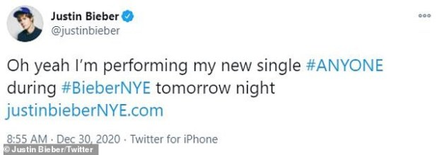 Excited: Bieber talks about upcoming concert in a set of tweets
