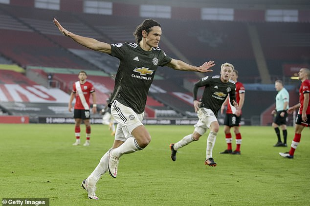Cavani celebrates after scoring against Southampton - one of four goals for Man United