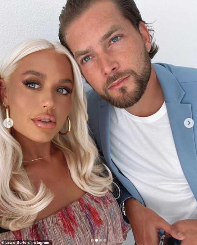 Smitten: Lottie Tomlinson put on a loved-up display with Lewis Burton on Thursday as he uploaded the first pictures of them as a couple to his Instagram and called her 'one of a kind'