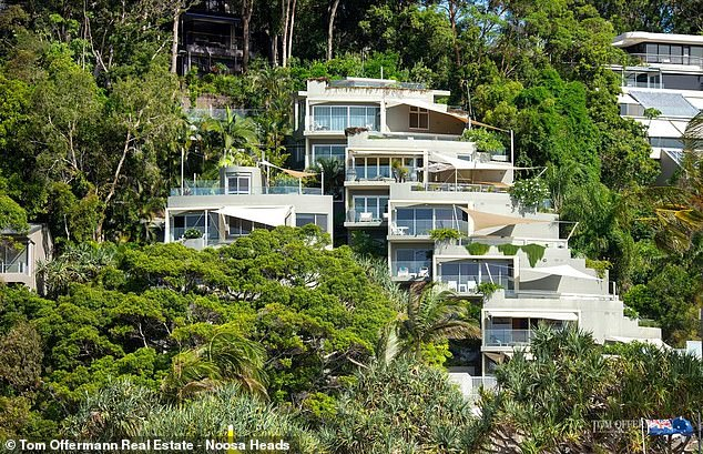 The luxury apartment in Noosa, (pictured above) on Queensland's Sunshine Coast, has an asking price of $8.2million
