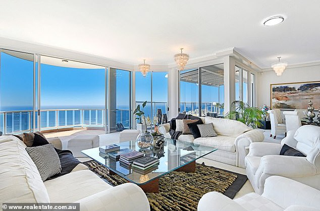 Nice!Located on Hughes Avenue, Main Beach, the penthouse is on the market and taking offers over $7 million, realestate.com.au reports.It features extra-high 3.2m ceilings and large windows offering incredible 360-degree views - and there are no neighbours