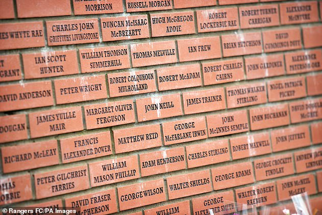 The names of the 66 fans who died in the post-match stairway crush are on a wall at Ibrox