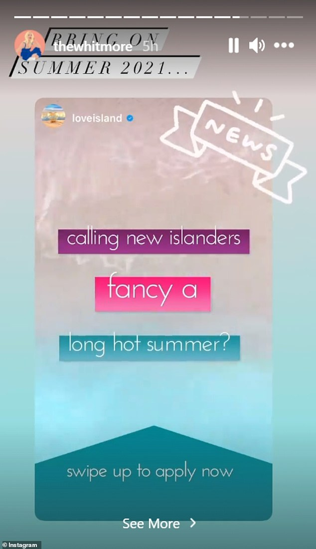 Applications:It comes after ITV shared they were on the hunt for a new crop of islanders as they invited singletons to apply for a place in the villa at the beginning of the month