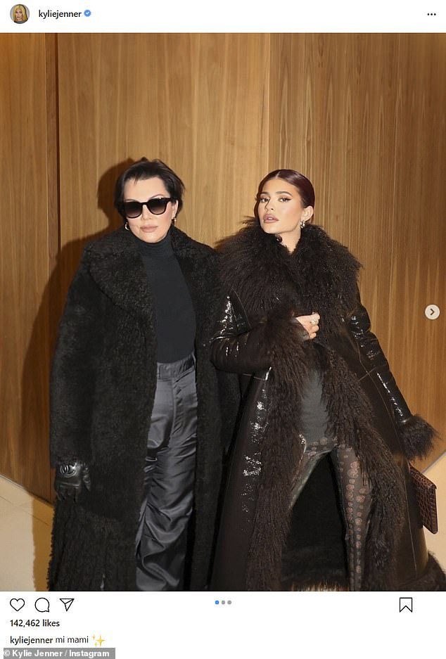 Mother–daughter bonding: Kylie showed off one of her ensembles in a series of Instagram photos with Kris that she posted on Friday before deleting shortly afterward