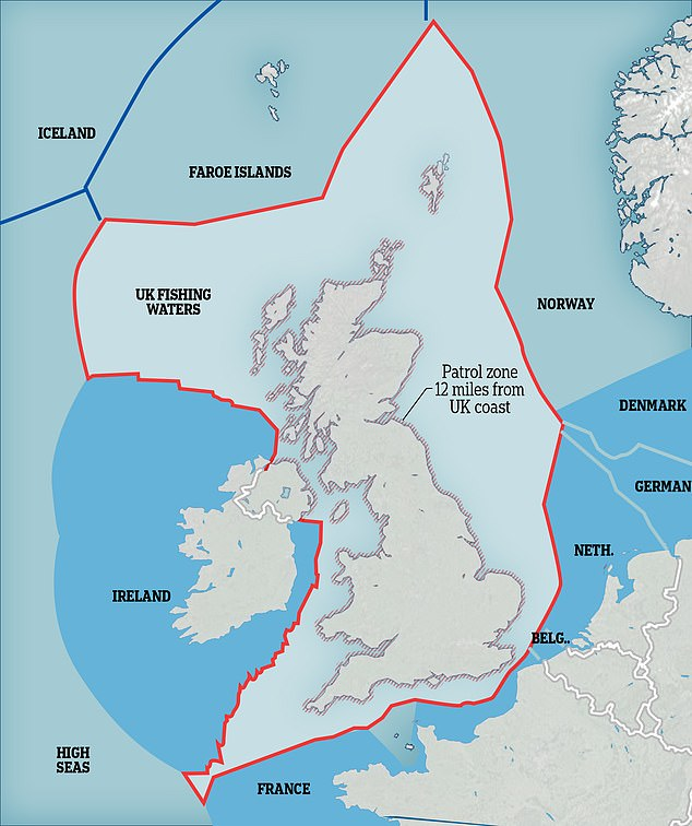 This map shows the extent of the UK's Exclusive Economic Zone - the waters Britain controls after Brexit