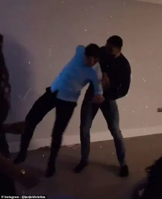 Crystal Palace captain Luka Milivojevic (left) celebrates at a New Year's Eve party with Fulham's Aleksandar Mitrovic (right)