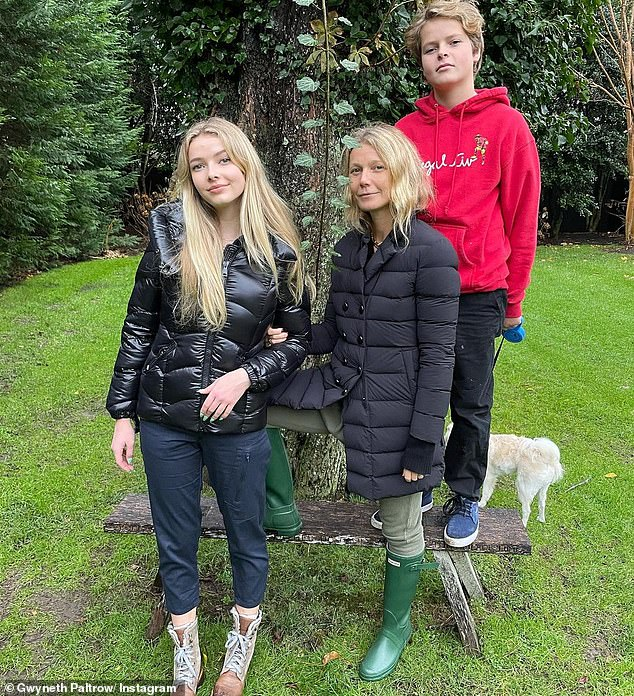 On their own: Skipping out on Gwyneth's Friday stroll were her two children, her lookalike daughter Apple, 16, and her son Moses, 14, whom she shares with her ex-husband Chris Martin