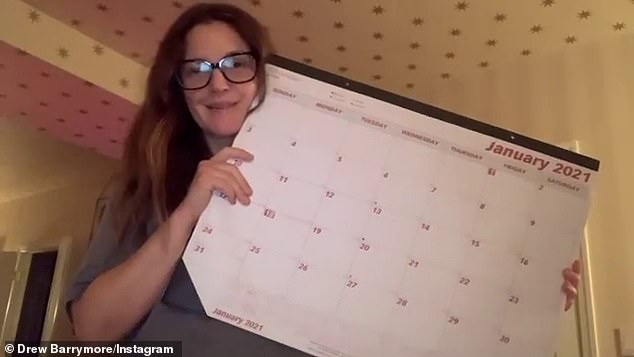 Drew Barrymore throws out her 2020 calendar full of memories for a brand new one