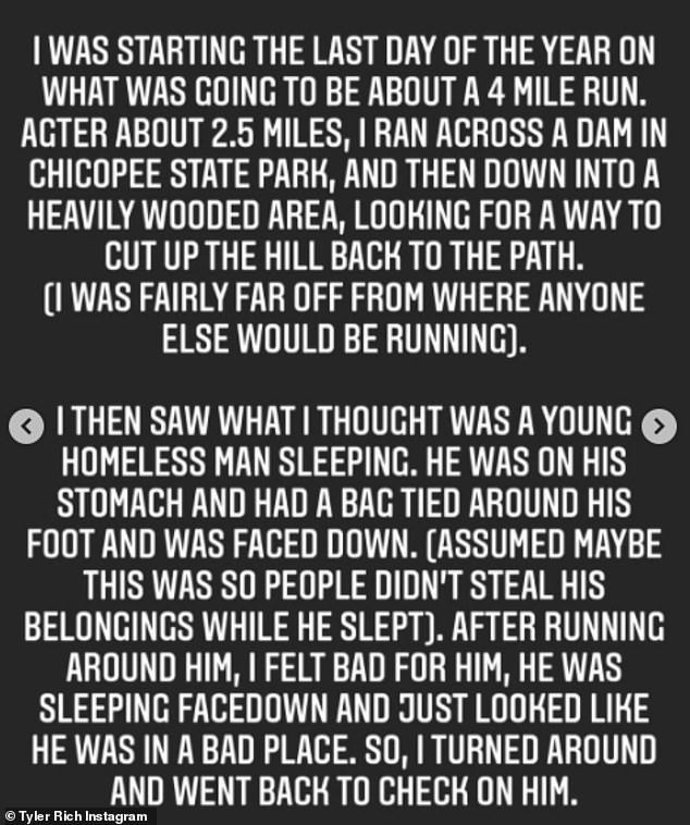 Terrifying: Still shaken, he explained he was 'fairly far off from where anyone else would be running' in a heavily wooded area, before saying he thought he saw a 'young homeless man' sleeping