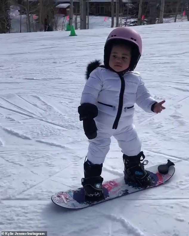 Veteran: Stormi tried her hand at snowboarding for the first time on a ski trip in December 2019