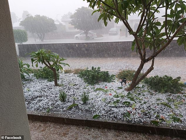 'Please take it easy, think before you drive anywhere and be aware of the flood risk of wherever you are staying,' Ilana Pender-Rose of the SES urges all to take care and be ready (Pictured: Resident's front yard in Broken Hill)