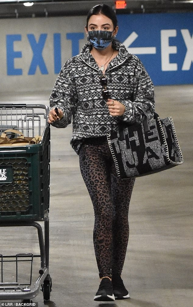Bold start: Lucy Halestarted 2021 with a bold look, as she rocked mixed prints to make a grocery run Saturday at Whole Foods in her Studio City neighborhood