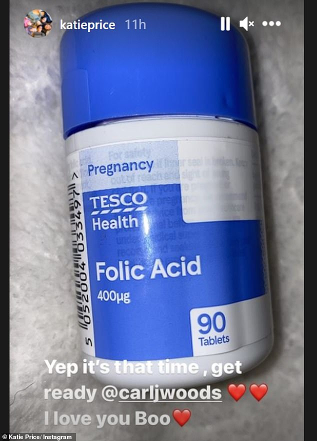 Get ready: On Saturday, she took to Instagram to share a snap of a bottle of folic acid, adding the caption, 'Yep it's that time, get ready @carljwoods. I love you boo'