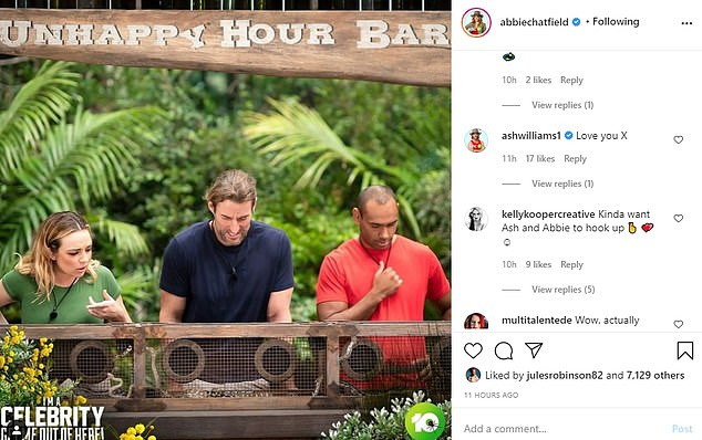 Flirty exchange: Adding fuel to the romance rumours, Ash commented 'Love you x' below a post Abbie shared to Instagram on Monday. The blonde replied, 'Love you love you love you'