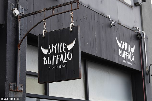 Pictured: Smile Bufflao Thai restaurant in Blackrock, Melbourne on December 31 after positive Covid cases were recorded