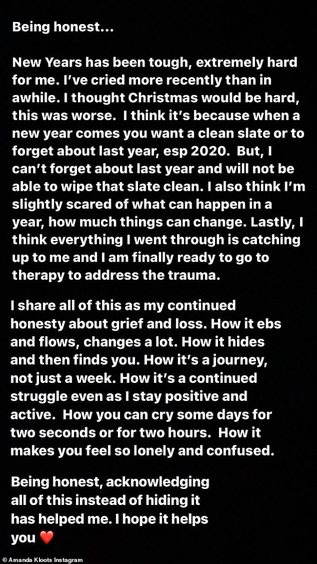 'The new years were tough, very difficult for me.  I cried for a while.  I thought Christmas would be hard, this was worse, 'she revealed on her Instagram story