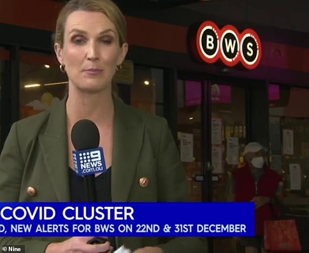 Nine News were filming outside the Berala BWS when the man attempted to enter the store